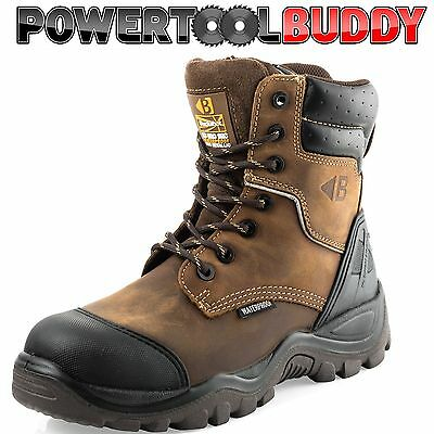 a8f8bbd853c BUCKLER BUCKSHOT BSH008WPNM HRO Brown Leather Waterproof Lace/Zip safety  boot