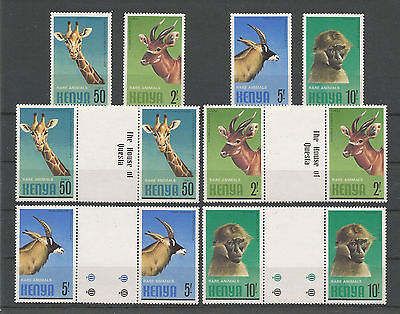 Kenya 1981 Fauna Fine MNH stamps Cplt. Set Pairs with gutter plus Single Set