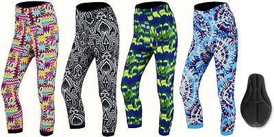 Womens Printed Padded 3/4 Legging Capri Trousers for Fittiness/Gym/Yoga &Cycling