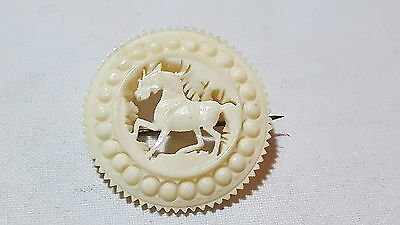 Carved stag bone vintage Victorian antique horse brooch