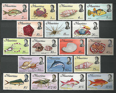 Mauritius 1969 Fish Marine Life Definitives to 10r (18) Supereb MNH