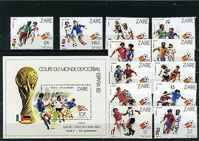 ZAIRE 1982 Sc#1058-1070 SOCCER WORLD CUP SPAIN SET OF 12 STAMPS & S/S MNH