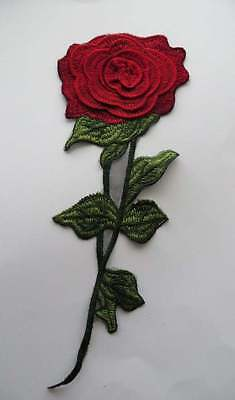 A long red and green embroidered patch applique, with 3D flower detail, 1piece