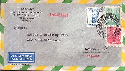 Brazil July 195- cover from Dox, Rio de Janeiro to London E8 with 3 stamp franki
