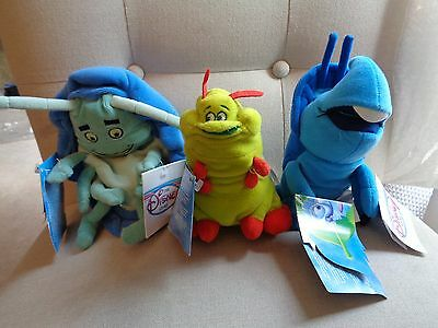 Disney Its A Bugs Life Dim Heimlich Caterpillar Tuck and Roll Bean Bag Plush NWT