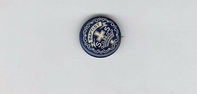 """Vintage Baptist SS Church Pin - Little's System Cross and Crown Pinback .75"""" Dia"""