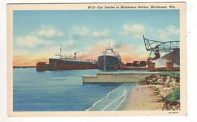 c1930 – Car Ferries in Manitowoc Harbor – Manitowoc, Wisconsin Postcard - Unused