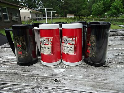 Vintage 1980s Budweiser (2) and Michelob (5) 16oz plastic beer mugs