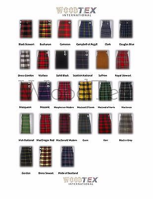"30 Clans-KILT SET OUTFIT PACKAGE 7 PIECES, 30 TARTANS AVAILABLE-SIZES 28"" to 46"""