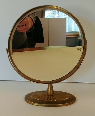 """Vintage Brass Art Deco Gold Metal Double Magnify Oval Standing Vanity Mirror 7"""""""