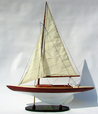 """24"""" Dragon Wooden Sailing Boat Model Stained & White Painted"""