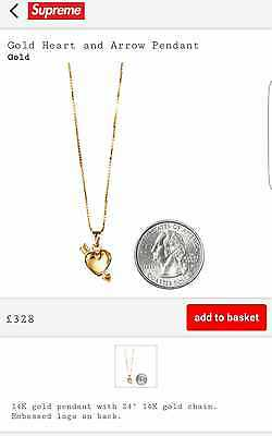 Supreme Gold Heart And Arrow Pendant And Chain 14K Gold