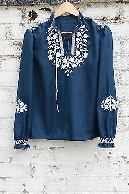 Vintage blue embroidered floral 70s cotton boho top penny lane lace blouse S M