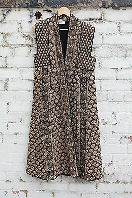 Vintage Black paisley Phool Indian cotton quilted long waistcoat gilet jacket S