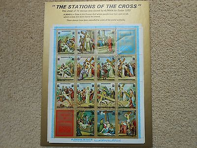 """Ajman """"Easter -The Stations of the Cross""""  Set of 14 Stamps (1972)"""