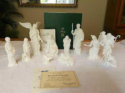 Lenox The Nativity White Bisque 10 Pc Set Holy Family Shepherds Angels w/Boxes
