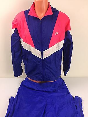 Nike Women's Vintage Blue Lined Nylon Windsuit Tracksuit Jacket Pants Size L / M