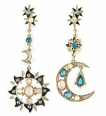 Long Drop Earrings Asymmetric Mismatched Dangle Moon Star Sun Gold Crystal Blue