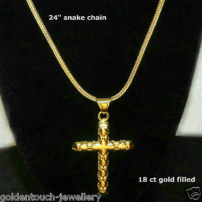 """Mens 18ct gold filled stamped cross pendant chain necklace 24"""", high quality /UK"""