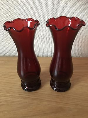 COLLECTABLE Pair Of Ruby Red Anchor Hocking Ruffled Rim Vases