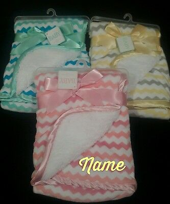 Personalized CHEVERON Minky & Sherpa Baby Blanket --Pink, Blue or Yellow