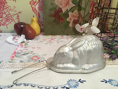 Vintage Rabbit Jelly Mold Large Aluminium Bunny Blancmange Mould with Stand