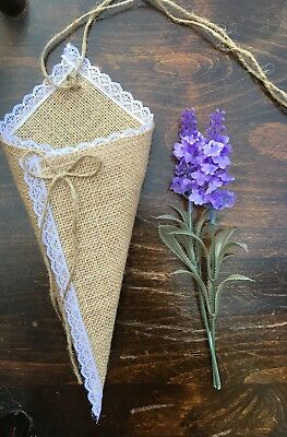 10 x Empty Lace Hessian Pew Cone Barn Vintage Rustic Wedding Decoration