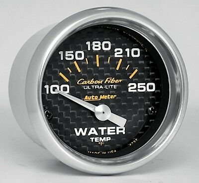 "AutoMeter 2-1/16th"" Carbon Fiber Air-Core Water Temperature Gauge 100-250 °F"