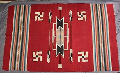 "Antique  Early 1900s Native American Chimayo Rolling Log Rug 80"" x 49"""