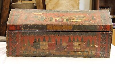 "Antique 1850 Mexican Hand Painted Wood Lacquered Baul Box Trunk 32"" X14"" x 16"""