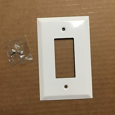 (1 pc) Decorator 1-Gang Wall Plate Cover WHITE METAL Over-sized Jumbo