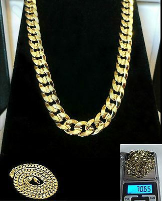 """Mens deluxe yellow gold filled 10mm chain necklace 24"""" heavy weight 70 grams, UK"""
