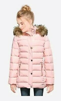 NWT Justice Kids Girls Size 8-10 Pink Faux Fur Hooded Puffer Winter Jacket Coat