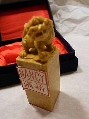 """nancy"" In Japanese Chinese Hand-Carved Foo Dog Qingtian Stone Seal Stamp"