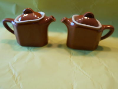 PAIR of Vintage Brown Pottery H.F. COORS Covered Teapot Creamer #20 Chefsware