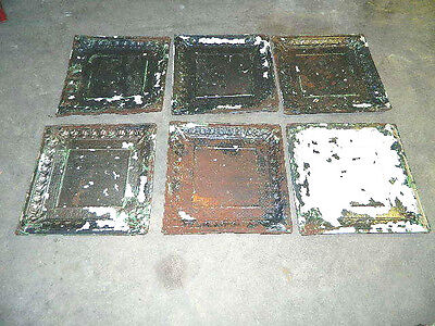 "6 VTG 1800's Architectural Tin Ceiling Tiles 24"" X 24"" Lot  RECLAIMED Crafts"