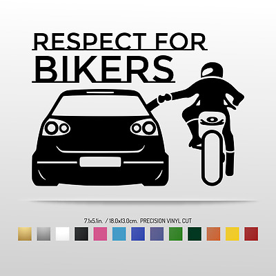 18x13cm RESPECT FOR BIKERS Funny VW Vinyl Sticker Car Window Decal MANY COLORS