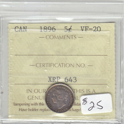 1896 Canadian 5 Cent Coin Iccs Vf-20