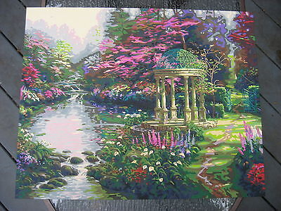 """Completed Paint By Number Painting """"The Garden Of Prayer"""" Acrylic Paint , Nice"""