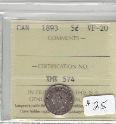 1893 Canadian 5 Cent Coin Iccs Vf-20