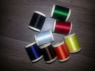 53 Spools Sizes A & C Rod Building Wrapping Nylon Thread 200 Yards. Nice Colors!