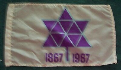 """1867-1967 10"""" by 6"""" CANADIAN CENTENIAL FLAG - PURPLE, BLUE & WHITE - VERY GOOD"""