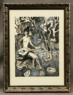 Byron Browne (AMERICAN) Early 20th Century Watercolor Nude Woman with Mandolin