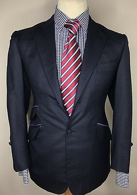 NEW SIR TOM BAKER LONDON LUXURY BESPOKE STYLISH SUIT BLUE TAILORED FIT 38x32x30