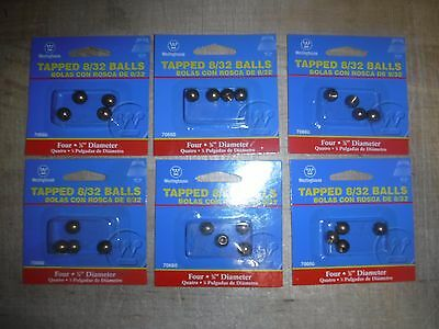 "(Lot of 6) 3/8"" threaded 8-32 brass balls drilled tapped knobs"