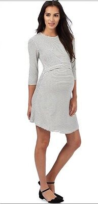 Red Herring Maternity Cream striped print nursing dress Size 12.   (b747)