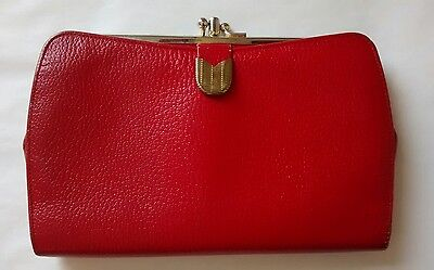 Vintage Bond Street Red Leather Kisslock Wallet Clutch Purse