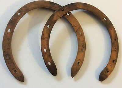 Horseshoes Copper Race Plates Farrier Uncommon Handmade Old Unused Collectible