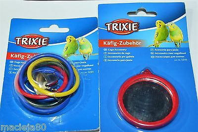 Bundle 2pcs Olimpics rings with bell + Mirror,Trixie,Toys, Bird,Canary,Parrot