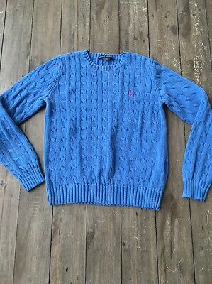 Ralph Lauren Cable Knit Sweater Blue Sz M Pink Logo 100% Cotton